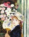絵画ルノワール『団扇を持つ若い女』高級肉筆再現画 10号(53.0×45.5cm)額付