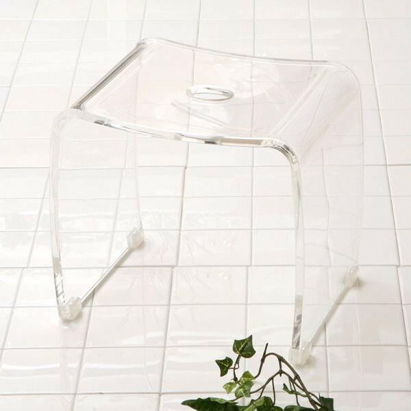 バスグッズ【アクア】バスチェアー アクリル製風呂椅子透明の風呂いす(風呂いす/風呂イス)バスグッズ