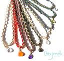 Chibi Jewels(チビジュエルズ)しずく型ストーンのチョーカーネックレス/2連ブレスレット/ローズクォーツ、水晶、アメシスト、パイライト/Color Cord Choker Necklace/N289【あす楽対応_関東】
