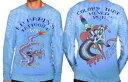【メンズ】エドハーディー(Ed Hardy)ドラゴン柄フロッキーロゴプリント長袖Tシャツ/ロングTシャツ(ブルー)【正規品】【あす楽対応_関東】P20Aug16【楽ギフ_包装】【あす楽_土曜営業】