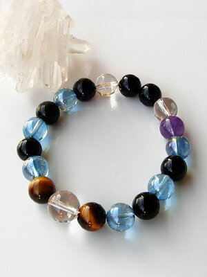 Power Stone bracelets aquamira tigereye Onyx 10 mm [Amethyst with]