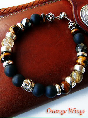 Power power stone silver bracelet Tiger eye rutilated quartz Onyx lock & bikers, tribal-brass