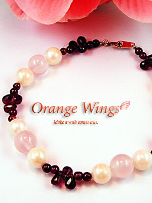 Briolette cut garnet & rose quartz bracelet