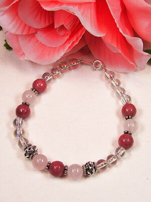 Power stone, stone, natural stone, road knight & rose quartz bracelet