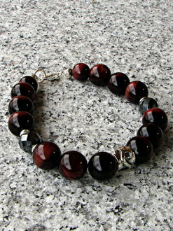 Silver&12mm red tiger eye (red tiger eyes) / hematite bracelet