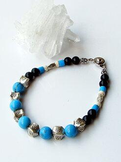 Karen silver bracelet / turquoise & onyx
