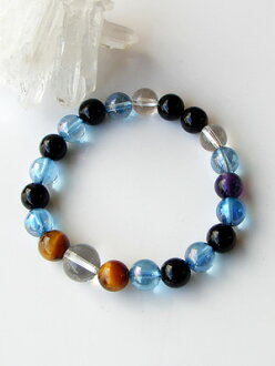 Power Stone bracelets on 8 mm Onyx Tiger eye Aqua aura [Amethyst with]