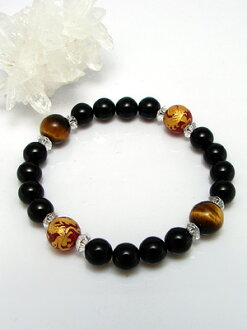 Flight-SC Dragon Bracelet ( Onyx & red agate & Tiger eye stone )