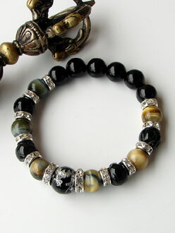 Black onyx large drop of 12mm ball dragon carving & scull & zebra tiger eye bracelet