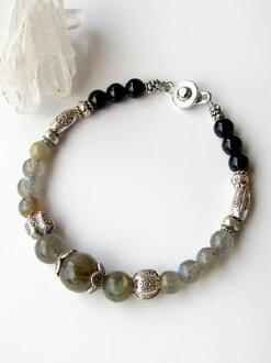 Karen silver bracelet / labradorite