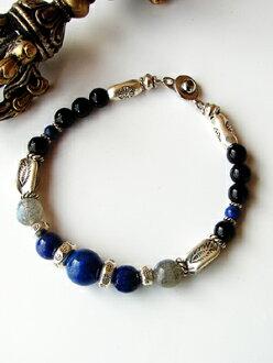 Stone Labradorite, lapis-lazuli Karen silver bracelet