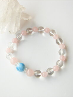 Large Larimer 10 mm & Rose Quartz bracelet