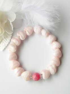 Heart-shaped ピンクマンガンカルサイト incarose bracelet