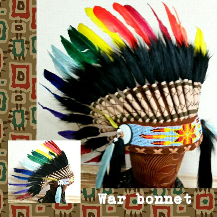 ウォーボンネット【 羽根かんむり 】wn-34 レインボー ネイティブ インディアン 羽根冠 羽根飾り 帽子・コスプレ