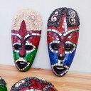 モザイクガラス お面 20cm 壁掛け 民族 マスク バリ雑貨 アジアン インテリア エスニック カットガラス バリ島