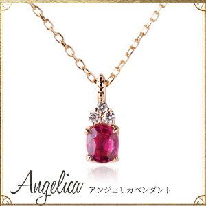 ゴールド アンジェリカ ペンダント アンティーク ネックレス オーバル ダイヤモンド チェーン