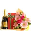 母の日のフラワーギフトお花とスイーツフランススパークリングワイン「キュヴェ・トラディション」375mlチョコレートケーキピンク系のお花のアレンジメント