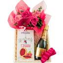 2018母の日プレゼントワインとお花のギフトピンク色のバラの生花アレンジメントフランスのスパークリングベビーボトルサイズラズベリータルトクッキーバスケット入り