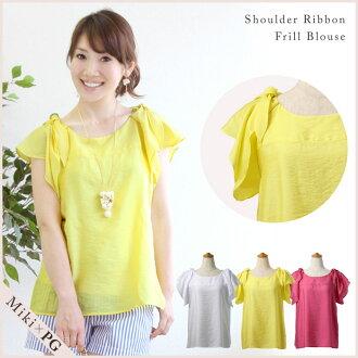 That shoulder Ribbon sleeve ruffle blouse short sleeve ★-