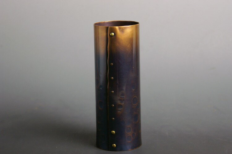 手作り銅器 花器 紫筒形鋲止【父の日結婚祝】 02P18Jun16