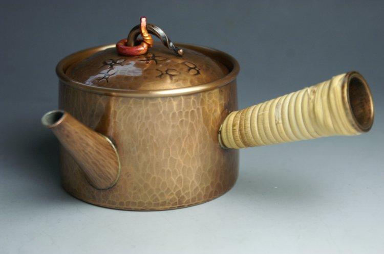 手づくり銅器 急須 生地色ひねり 茶器【工芸ギフト】の商品画像