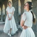 セパレートドレス レース 結婚式 フィッシュテール 花嫁 2次会 ドレス ホワイト S M L ワンピース セパ