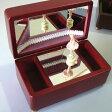 バレリーナ回転オルゴール(木製ケース/三面鏡) ワイン/薄いピンクの人形(♪愛の夢) プレゼント