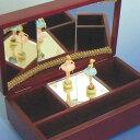 バレリーナ回転オルゴール デラックス 木製ケース ワイン (三面鏡/人形2体:ピンクとブルー ♪星に願いを) プレゼント