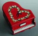 曲目多数/トールペイントピアノ型オルゴール(ワイン/ハートリース) 【18弁曲目選択オルゴール】 プレゼント
