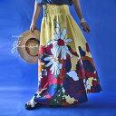 レトロでカラフルな花柄ロングスカート アクセントのウエスト紐がかわいい お洒落 自然派 お出かけ apa
