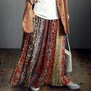 ショッピングロングスカート スカート ボトムス フレア ワイド ロングロングスカート パッチワーク プリーツ 花柄 柄 裏地付き レディース 大人 お洒落 コーデ ギフト アンティカフェ #メール便不可!
