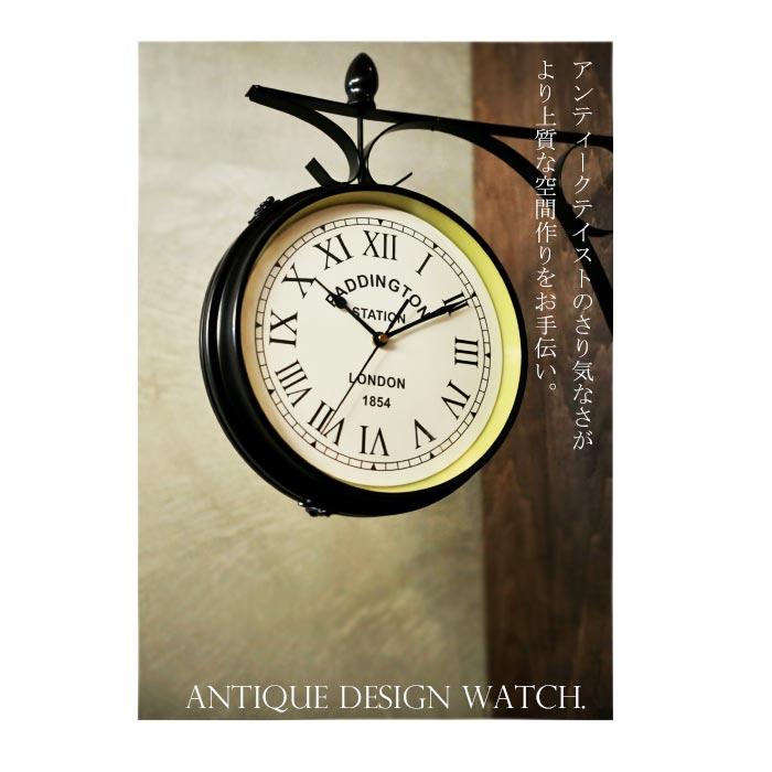 アンティークデザインの両面時計 ヴィンテージデザイン カフェ CAFE レトロ お洒落 おしゃれ goods