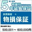 【対象商品のみ】個人5年物損付延長保証(自然故障+物損 商品金額)500,001円~600,000円用(99990005-60)