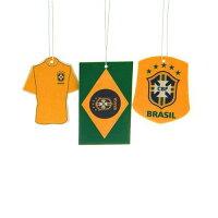 送料無料/ファンは大喜び【ブラジル CBF】【サッカー ブラジル代表】一目でわかる/ブラジリアン イエロー【エア フレッシュナー】3点セット/愛車内に ! お家に ! オフィスでも !/ブラジル 大好きな人へ/3点でこの価格【発送はDM便】の画像