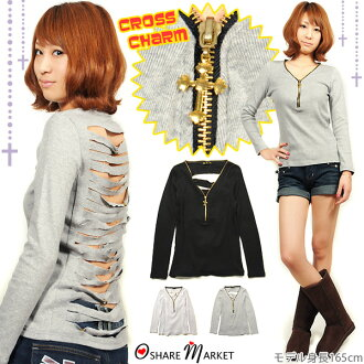 Shortcut novelty ZIP your cross charm with ☆ back damage processing T saw / long sleeve / long T shirt