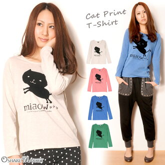 Cat print long sleeves T-shirt cut-and-sew