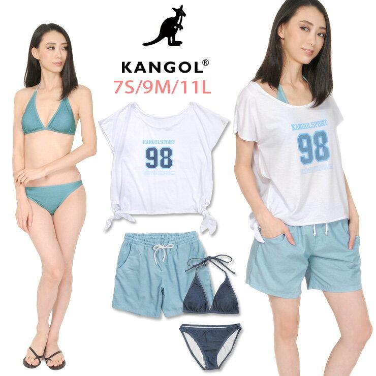 カンゴール(KANGOL)|KANGOL レディース用Tシャツ付きビキニ水着4点セット 7S 9M 11L カンゴール 128206...