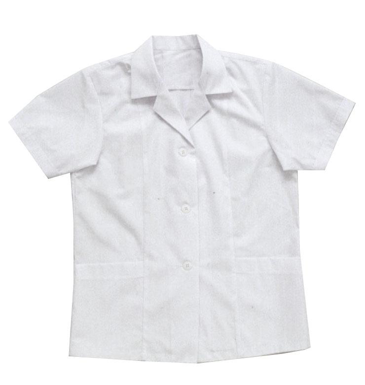 【BIG RUN】厨房白衣(女性用半袖襟付) S〜4L