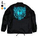 HOLLYWOOD HARDWARE BY LINKAGE - Winged Skull Coach's Jacket コーチジャケット メンズ ストリート ブランド ジャケット アウター 裏地あり ポリエステル 白 イエロー ブルー 黒 S M L XL XXL 大きいサイズ
