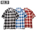 【2017 SPRING 先行予約 / 4月入荷予定】 RULER (ルーラー) OPEN COLLAR OMBRE CHECK SHIRTS[オンブレチェック...