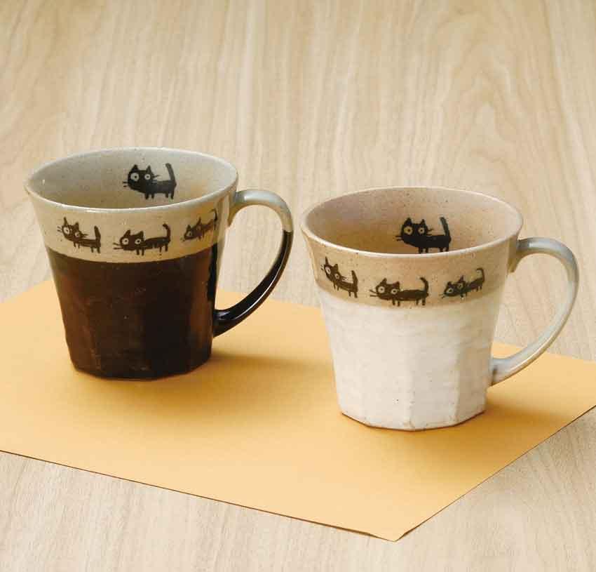 美濃焼 カネ仁 黒猫お散歩マグカップ(ペア)160cc マグ/ギフト/レトロ/ネコ/和夫婦湯呑/カネ仁