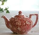 イギリス食器 バーレイ社 レッドキャリコ ティーポット S 550ml 花柄/おしゃれ/陶器/おすすめ/かわいい