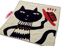 ミルチーフガーゼハンカチ猫ジョーカー猫柄黒猫三重ガーゼ34×34cmまたのあつこマタノアツコ綿100%