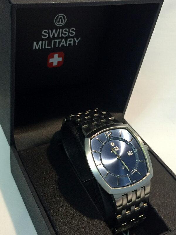 【 コミック】SWISS MILITARY 時計/スイスミリタリー スイス製腕時計型番/10496M 角型 青カラー:ブルー×シルバー:お宝市番館 フィギュア【20170617★値下げ】