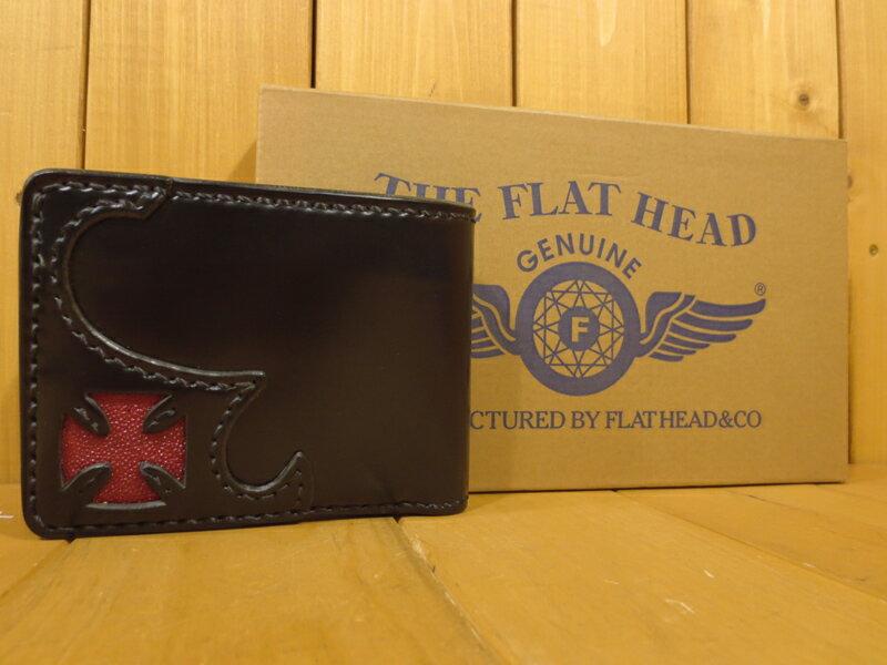 【】THE FLAT HEAD(フラットヘッド) コードバンウォレット 二つ折り財布 カラー:ブラック 【201709★値下げ】