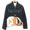 【中古】Casablanca|カサブランカ PRINTED DENIM JACKET ジャケット ブラック サイズ:M【f108】