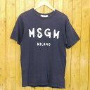 【中古】MSGM/エムエスジーエム Logo T-shirt 半袖Tシャツ サイズ:XS カラー:ネイビー【f108】