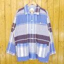 【中古】NOMA t.d./ノーマティーディー N Plaid Blouson チェックブルゾン シャツジャケット サイズ:2 カラー:ブルー【f104】