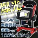 【送料無料】★充電機能付◆5W SMD/LED 投光器 AC100V&DC12V/###投光器TGD-5W赤☆###