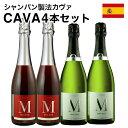 スパークリングワインセット送料無料カヴァcava4本セット辛口2本中甘口2本シャンパン製法瓶内二次発酵スペイン産泡